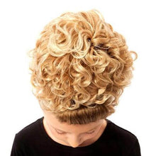 Load image into Gallery viewer, Keara Irish Dancing Single Curl Hair Bun Wig in Various Colors Top View CorrsIrishShoes.com