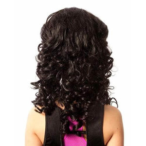 Michaela Long Length Loose Curl Hair Wig for Irish Dancing Competition Reverse View CorrsIrishShoes.com