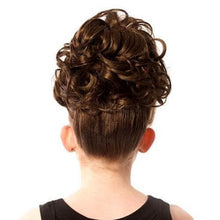 Load image into Gallery viewer, Natural Kara Double Loose Curl Irish Dance Bun Wig Reverse View CorrsIrishShoes.com