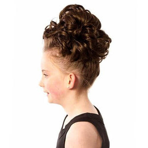 Natural Kara Double Loose Curl Irish Dance Bun Wig Side View CorrsIrishShoes.com