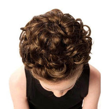 Load image into Gallery viewer, Natural Kara Double Loose Curl Irish Dance Bun Wig Top View CorrsIrishShoes.com