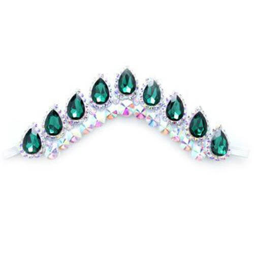 Stunning Irish Dance Flexible Headband with Green Crystals On White Backing CorrsIrishShoes.com