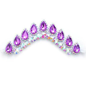 Stunning Irish Dance Flexible Headband with Violet Crystals On White Backing CorrsIrishShoes.com