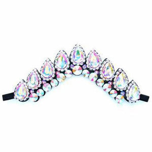 Stylish Irish Dance Flexi Headband with AB Crystals On Black Backing CorrsIrishShoes.com