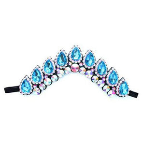 Stylish Irish Dance Flexi Headband with Navette Crystals On Black Backing CorrsIrishShoes.com