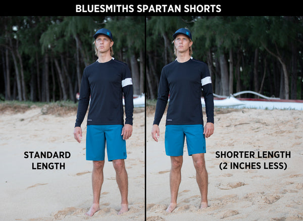 Standard Length v Shorter Length Bluesmiths Spartan Shorts