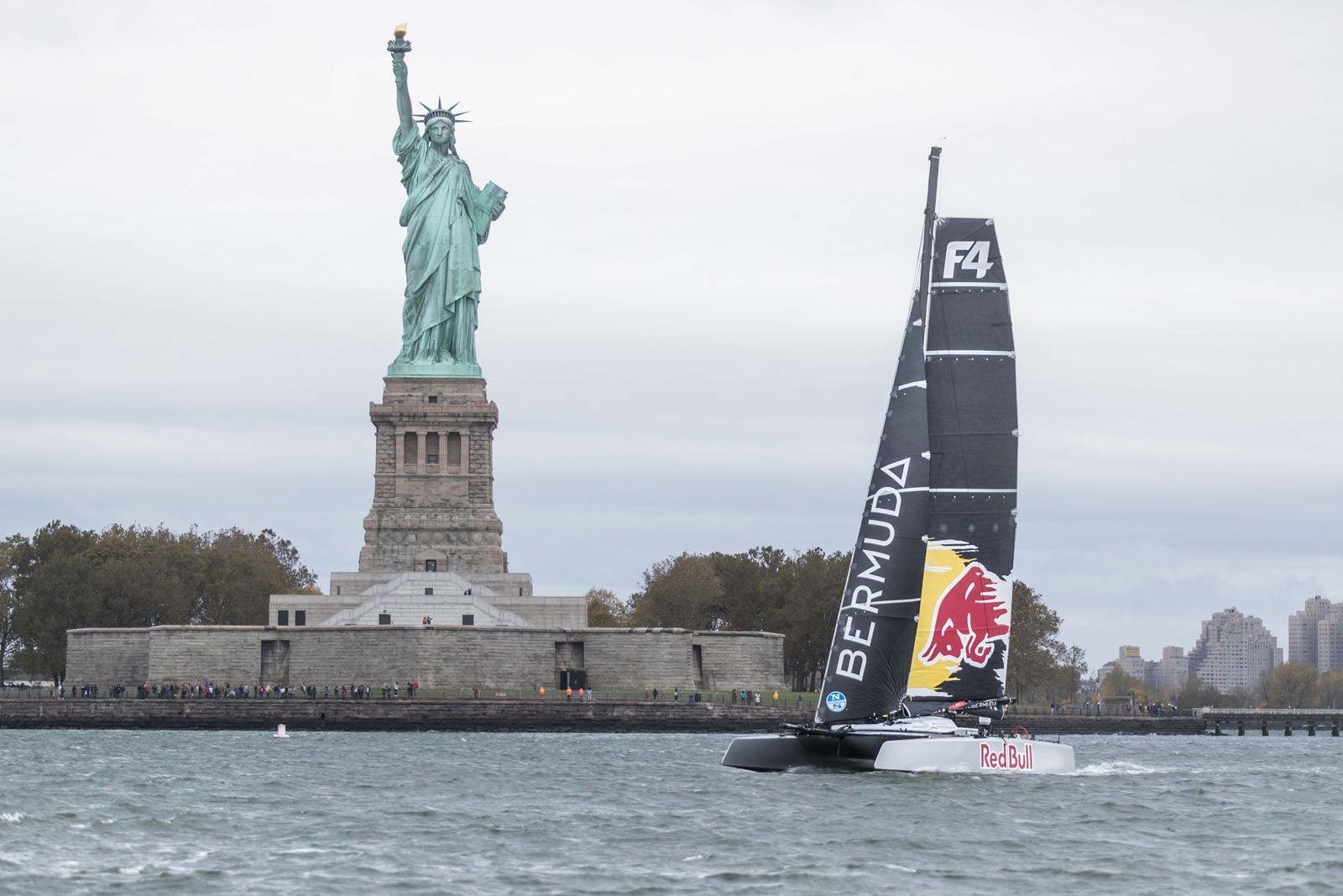 Red Bull Bluesmiths Sailing NYC Statue of Liberty Foiling Catamaran