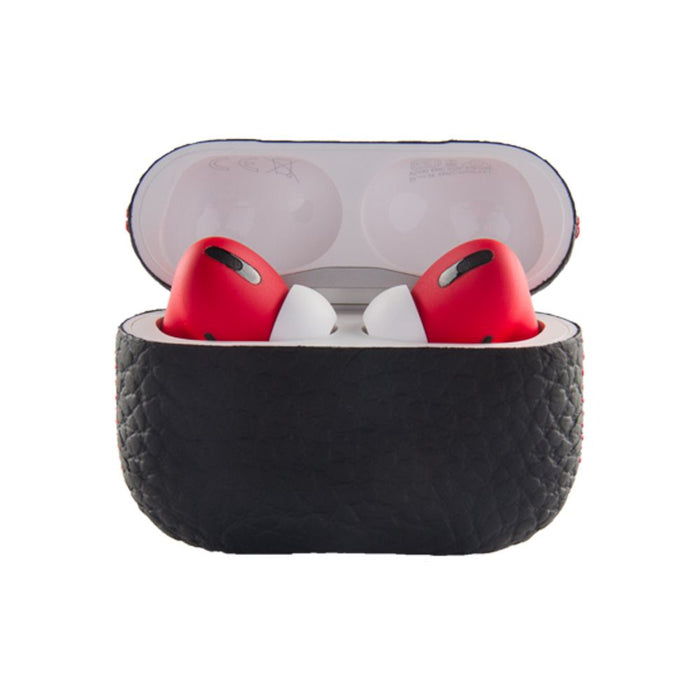 Merlin Craft Royal Collection Apple Airpods Pro Calf Glossy Black Red with Leather Box