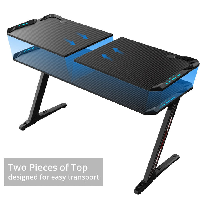 Eureka Ergonomic Z60 Black Gaming Desk with RGB Lights