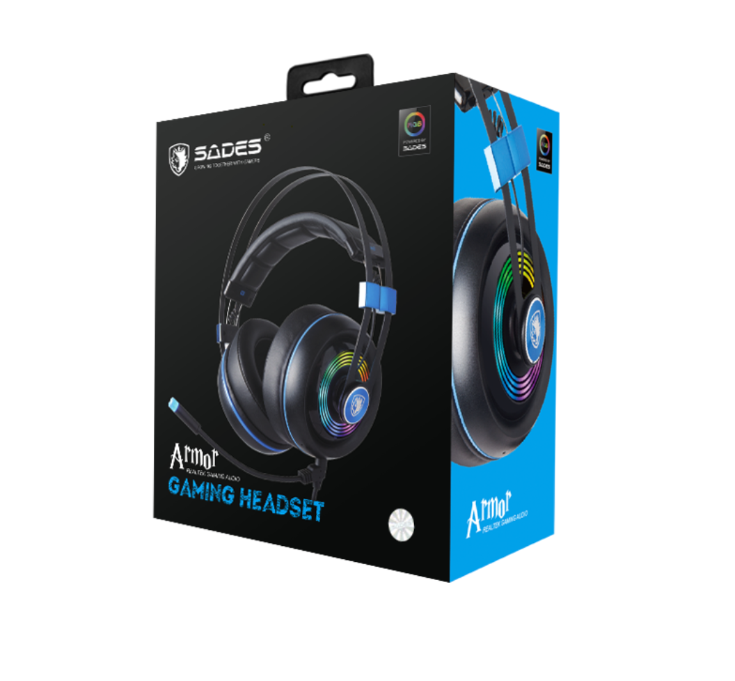 SADES Armor SA-908 RGB Wired Gaming Headset - Black/Blue