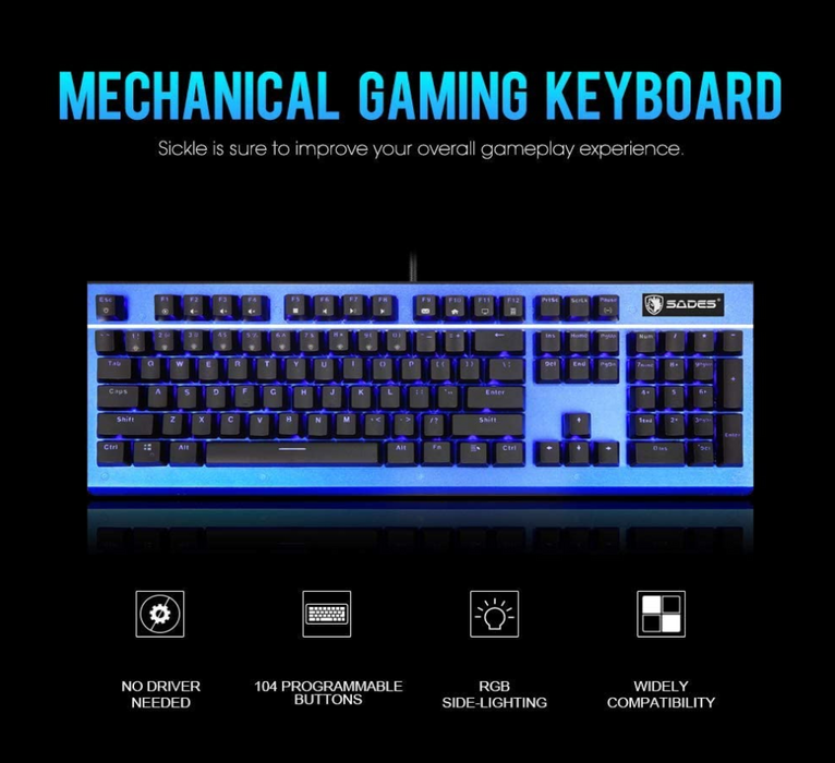 SADES Sickle K13 RGB Side-Lighting Mechanical Gaming Keyboard
