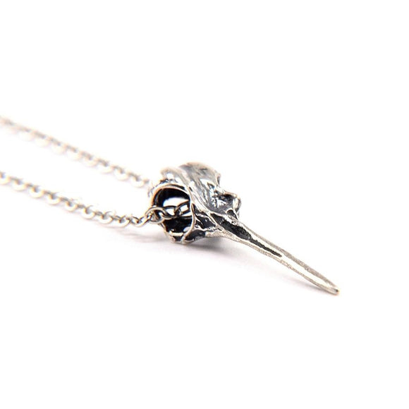 Hummingbird Skull Necklace - Sterling Silver
