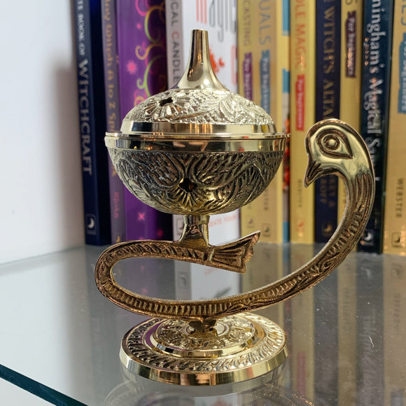 Brass Peacock Incense Burner