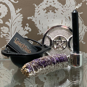 Mini Cauldron Triple Moon Altar Tile Gift Box Set