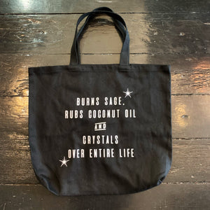 Burns Sage Self Care Black Canvas Tote Bag
