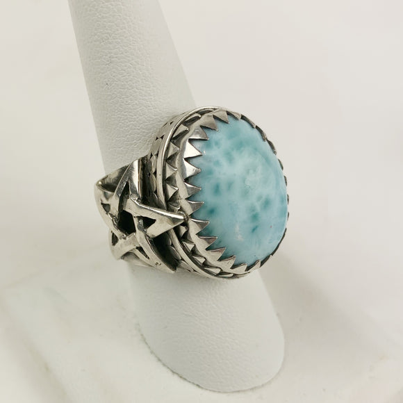 Sterling Larimar Star Ring