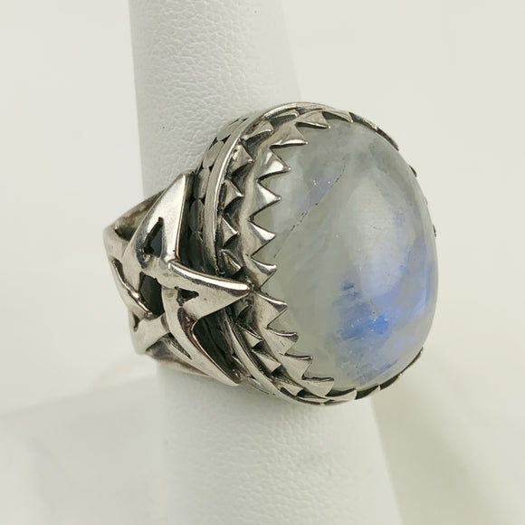 Sterling Rainbow Moonstone Star Ring