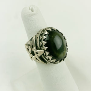Sterling Rainbow Obsidian Star Ring