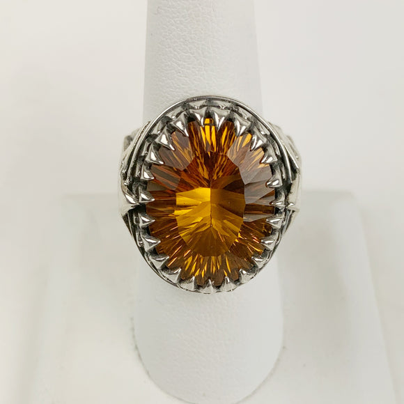 Sterling Citrine Star Ring