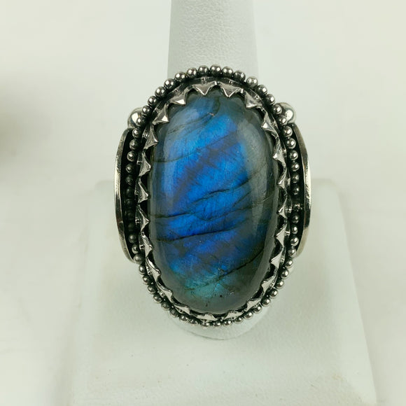 Sterling Valhalla Large Labradorite Ring