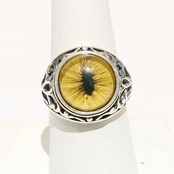 Victorian Inspired Sterling Filigree Yellow Feline Taxidermy Eye Ring