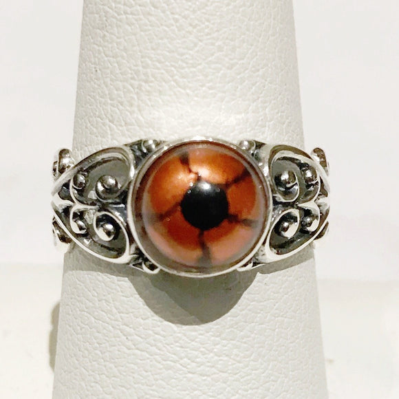 Sterling Taxidermy Eye Ring Orange Reptile Filigree Band