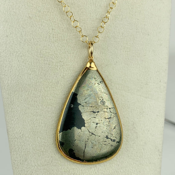 Pyrite Teardrop 24K Gold Edged Necklace