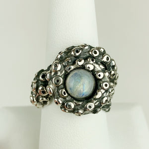 Octopus Tentacle Ring Moonstone Sterling