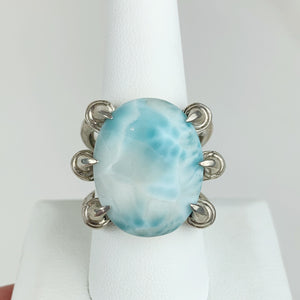 Sterling Claw Larimar Ring