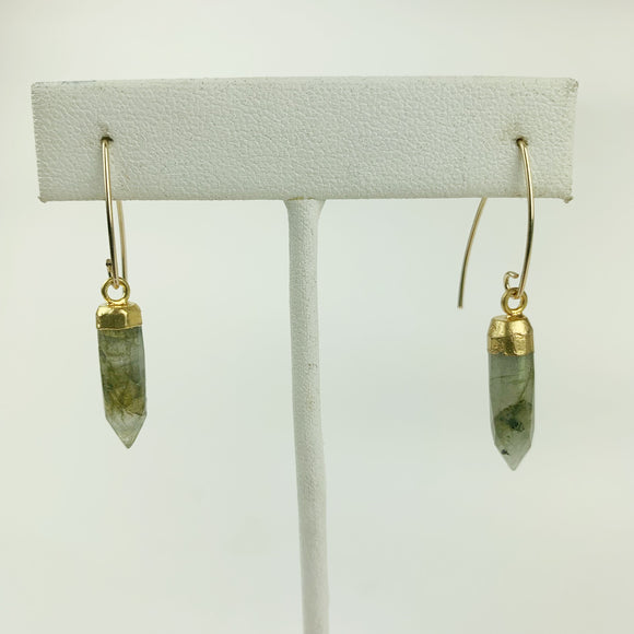 Faceted Labradorite Points 24K Edged Gold Filled Earrings