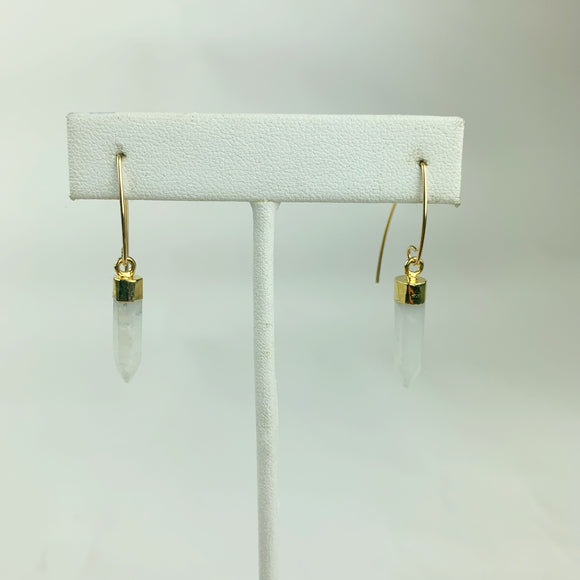 Faceted Moonstone Points 24K Edged Gold Filled Earrings