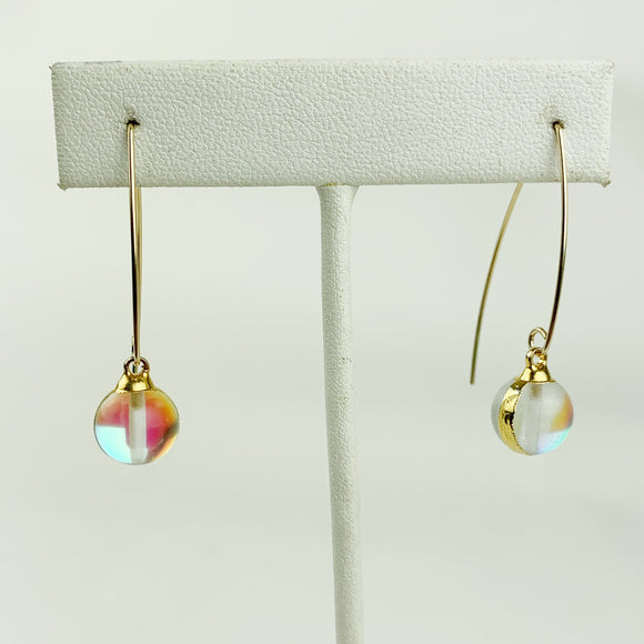 Opalite Crystal Ball Gold Filled Earrings