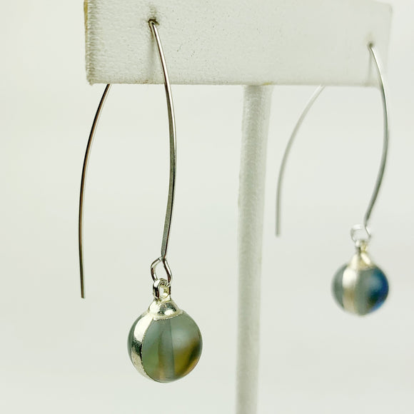 Opalite Crystal Ball Sterling Earrings