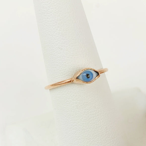 Mini Rose Gold Blue Glass Eye Ring