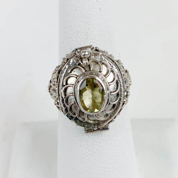 Sterling Citrine Swirl Oval Large Poison Ring