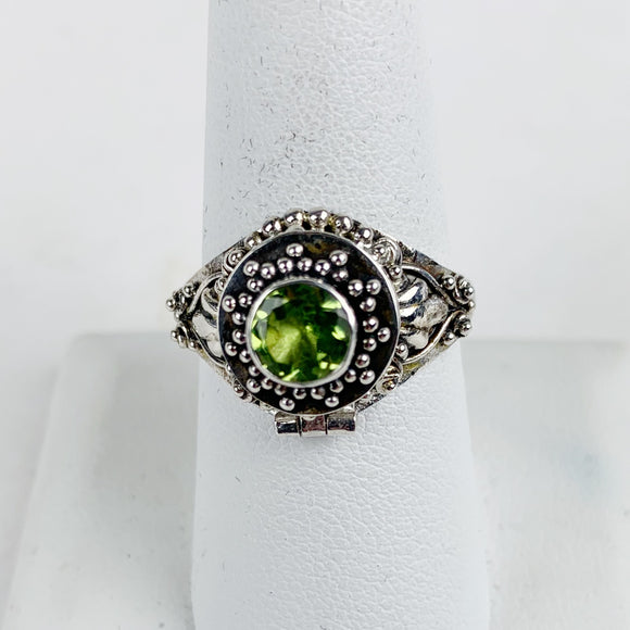Sterling Poison Ring Round Peridot Stone Small
