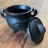 Small Black Pentacle Cast Iron Cauldron 3""
