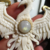 Hand Carved Bone Phoenix Moonstone Necklace