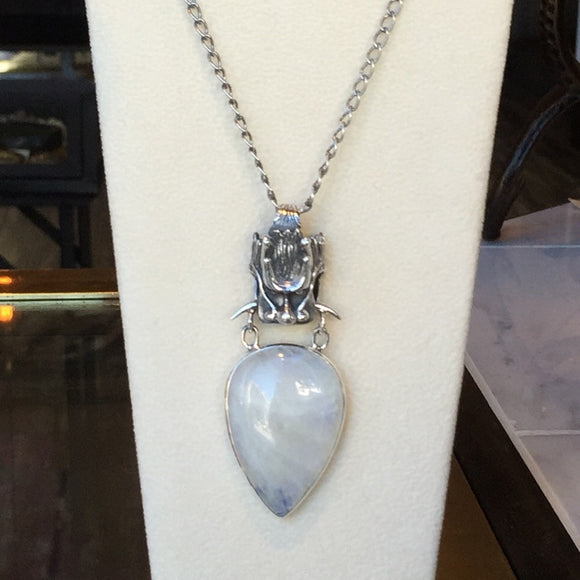 Sterling Dragon Moonstone Drop Necklace