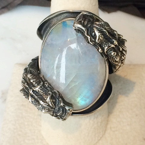 Double Dragon Moonstone Sterling Ring