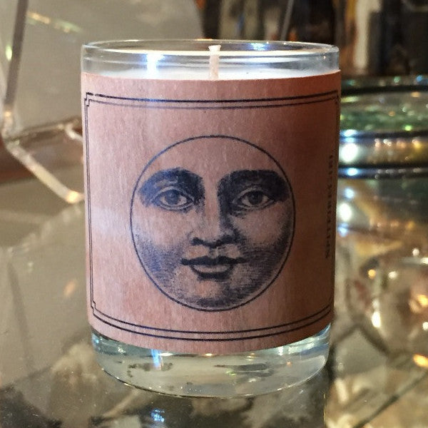 Wood Covered Moon Votive Candle