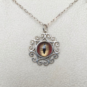 Shark Taxidermy Eye Sterling Filigree Necklace