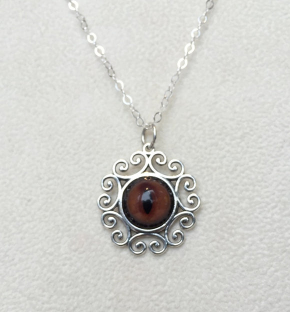 Fox Taxidermy Eye Sterling Filigree Necklace