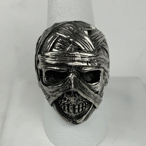 Sterling Mummy Skull Ring