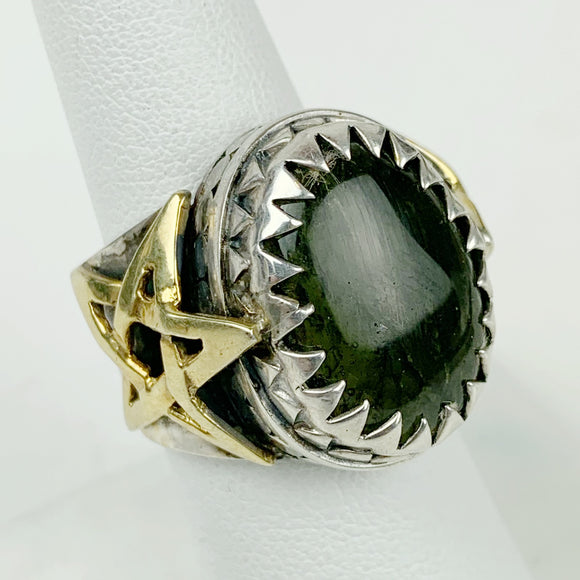Sterling Star Moldavite 24K Gold Accents Ring