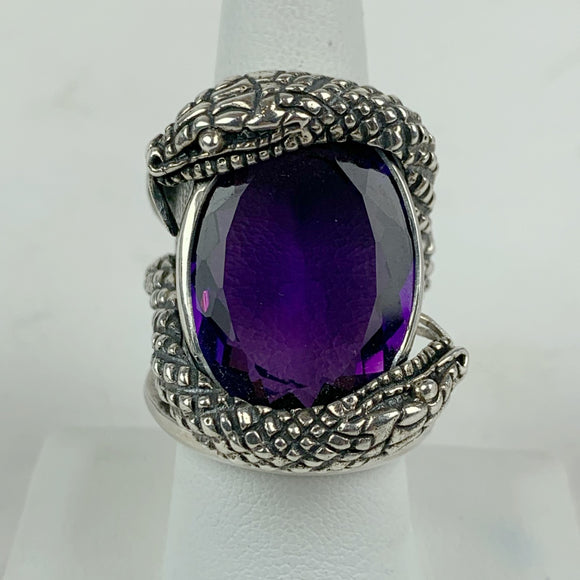 Snake Amethyst Sterling Ring