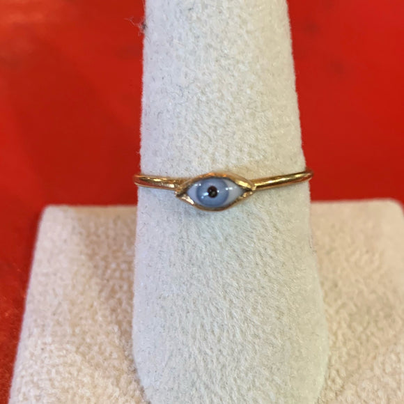 Mini Glass Eye Brass Ring Blue