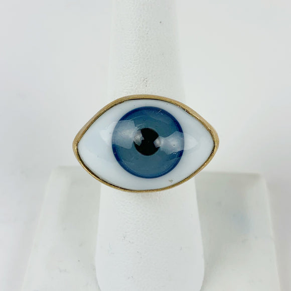 Glass Eye Brass Ring Blue