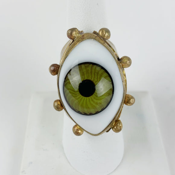 Glass Eye Brass Ring Large Green