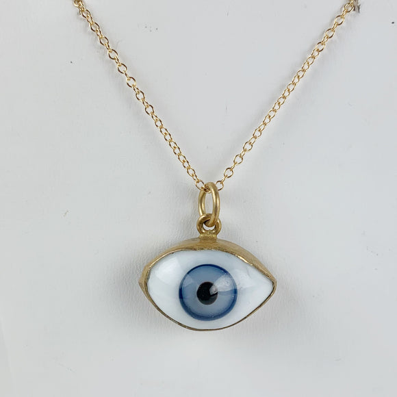Glass Eye Necklace Small Blue